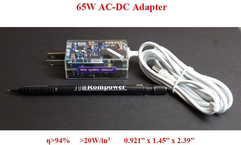 65W  Adapter with the world's highest efficiency and a power density above 20W/in3
